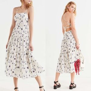 UO Sparks Fly Tiered Midi Dress